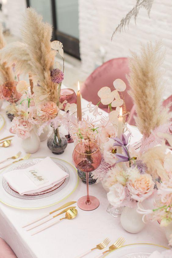 table mariage pastel
