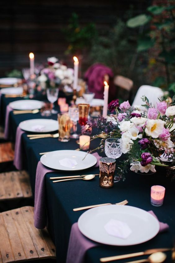 table mariage violet
