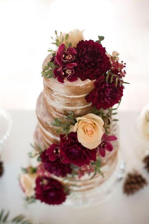 wedding cake burgundy