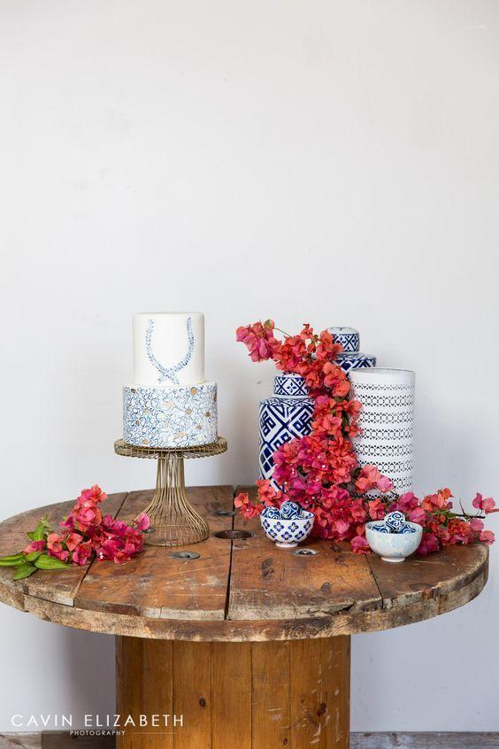 décoration de mariage en céramique bougainvillier