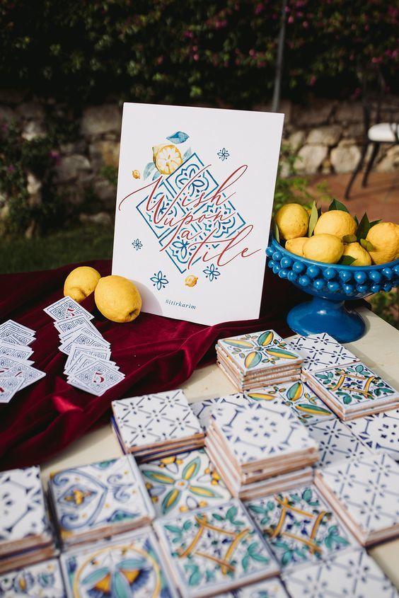 décoration de mariage en céramique colorée 2